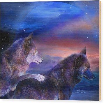 Wolf Mates Wood Print by Carol Cavalaris