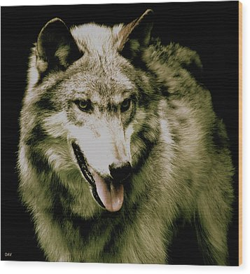 Wood Print featuring the mixed media Wolf Of The Night by Debra     Vatalaro