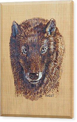 Wolf Wood Print by Ron Haist