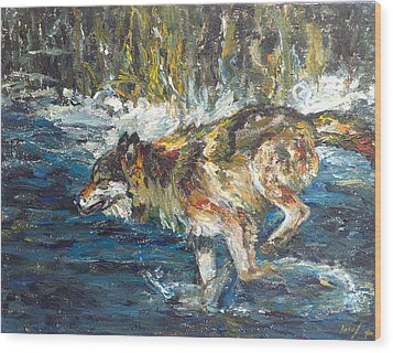 Wood Print featuring the painting Wolf Running by Koro Arandia