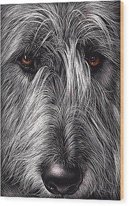 Wolfhound Wood Print by Elena Kolotusha
