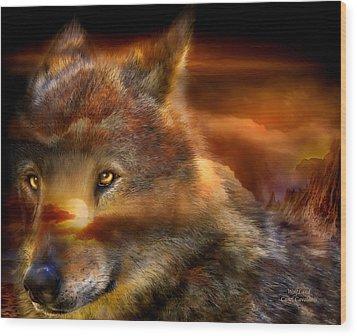 Wolfland Wood Print by Carol Cavalaris