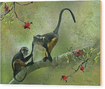 Wolf's Guenon Wood Print by Thanh Thuy Nguyen