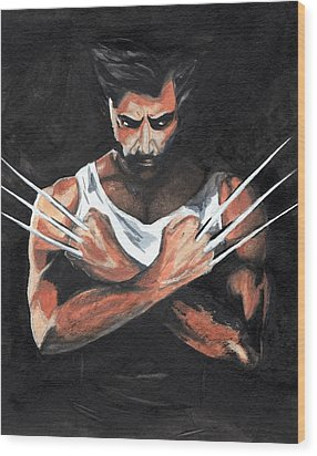 Wolverine Wood Print by Pet Serrano