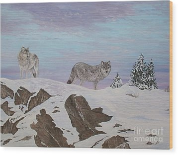 Wolves At Twilight Wood Print by Patti Lennox