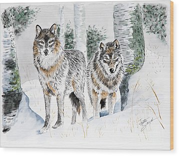 Wolves In The Birch Trees  Wood Print