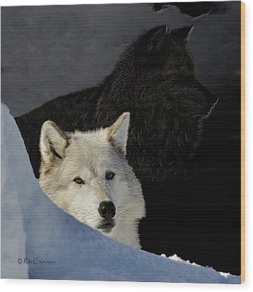 Wood Print featuring the digital art Wolves, Real And Surreal by Kae Cheatham