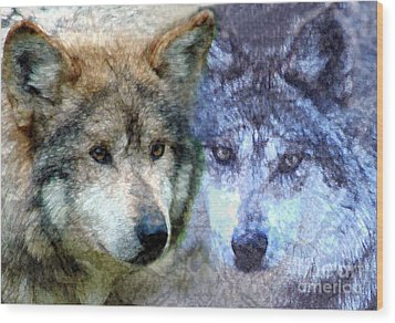Wolves Wood Print by Tom Romeo