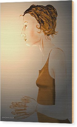 Wood Print featuring the digital art Woman 15 by Kerry Beverly