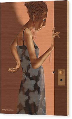 Wood Print featuring the digital art Woman 37 by Kerry Beverly
