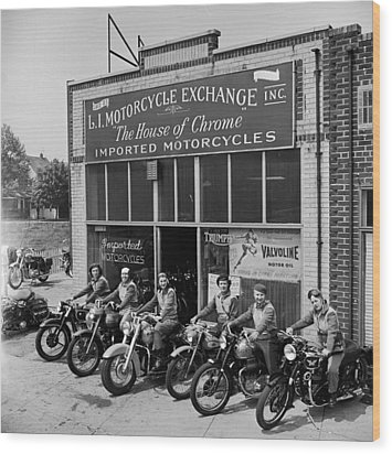 The Motor Maids Of America Outside The Shop They Used As Their Headquarters, 1950. Wood Print by Lawrence Christopher