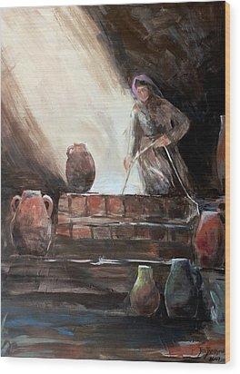 Woman At The Well  Wood Print by Jun Jamosmos
