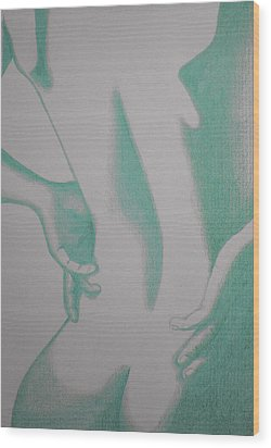 Wood Print featuring the drawing Woman Back Green by Fanny Diaz