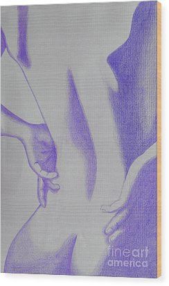 Woman Back Purple Wood Print
