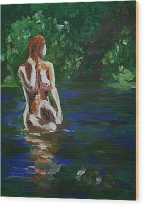 Woman Bathing In Lake Wood Print by Regina WARRINER
