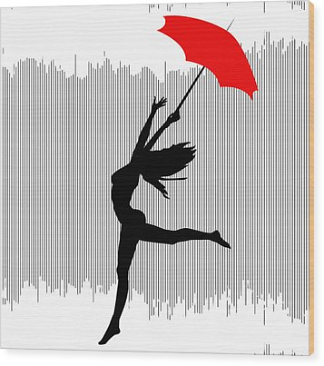 Woman Dancing In The Rain With Red Umbrella Wood Print by Serena King