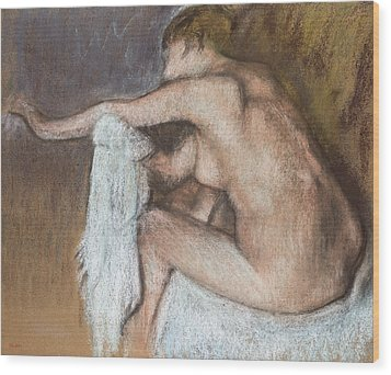 Woman Drying Her Arm Wood Print by Edgar Degas