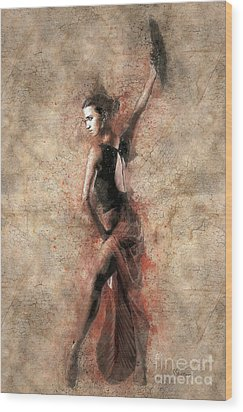 Woman Flamenco Dancer Wood Print by Shirley Stalter