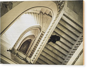 Woman Going Down At Staircase Wood Print
