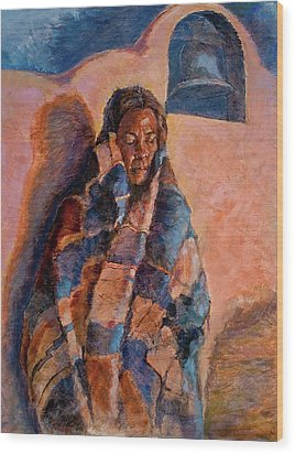 Woman In A Serape Wood Print