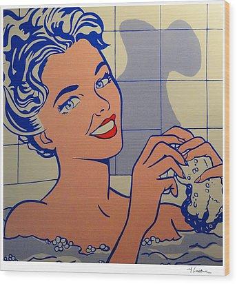 Woman In Bath Wood Print by Roy Lichtenstein