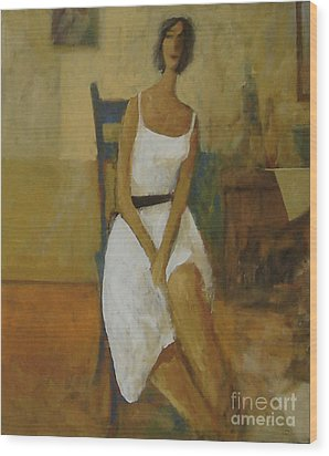 Wood Print featuring the painting Woman In Blue Chair by Glenn Quist