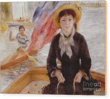 Woman In Boat With Canoeist Wood Print by Renoir