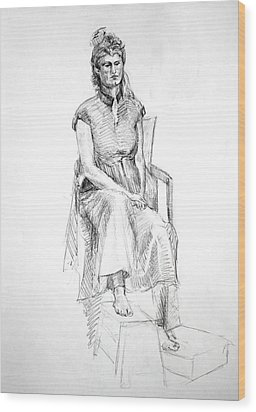 Woman In Dress Wood Print by Mark Johnson