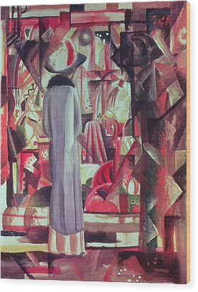 Woman In Front Of A Large Illuminated Window Wood Print