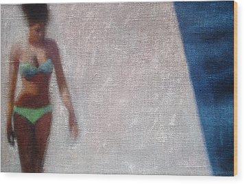 Woman In Green Bikini Wood Print by Geoff Greene