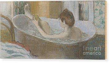 Woman In Her Bath Wood Print by Edgar Degas