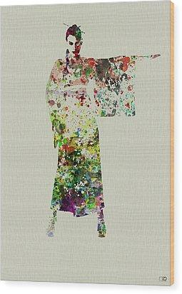 Woman In Kimono Wood Print by Naxart Studio