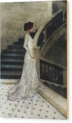 Woman In Lace Gown On Staircase Wood Print by Jill Battaglia
