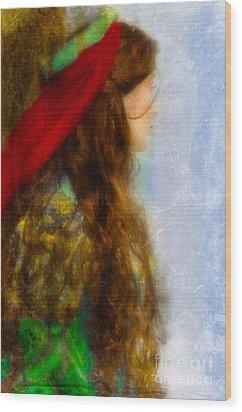 Woman In Medieval Gown Wood Print by Jill Battaglia