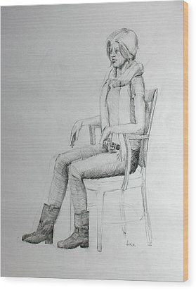 Woman In Scarf Wood Print by Mark Johnson