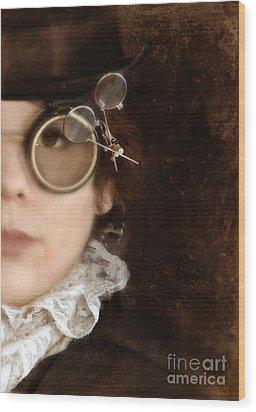 Woman In Steampunk Clothing  Wood Print by Jill Battaglia