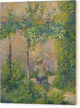 Woman In The Garden Wood Print by Hippolyte Petitjean