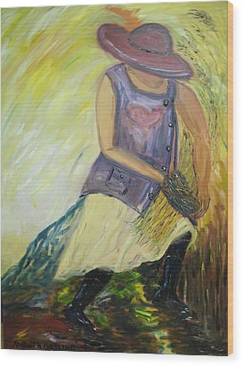 Woman Of Wheat Wood Print