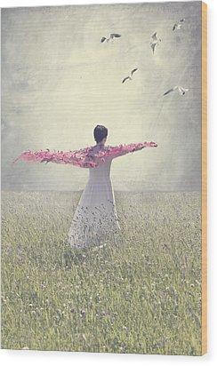 Woman On A Lawn Wood Print by Joana Kruse
