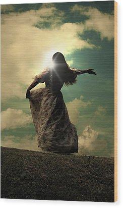 Woman On A Meadow Wood Print by Joana Kruse
