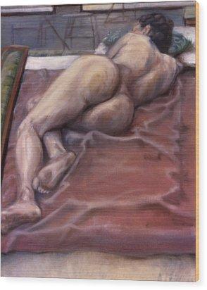 Woman On Blanket Wood Print by John Clum