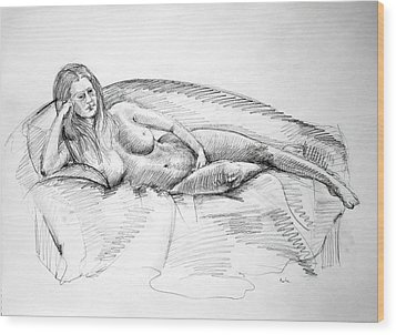Woman On Couch Wood Print by Mark Johnson