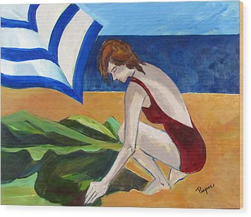 Wood Print featuring the painting Woman On The Beach by Betty Pieper