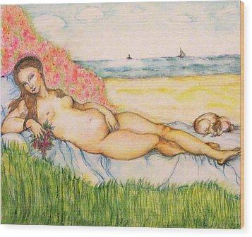 Woman On The Beach Wood Print by Hye Ja Billie