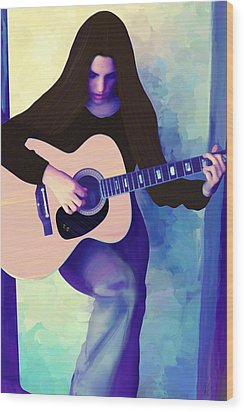 Woman Playing Guitar Wood Print