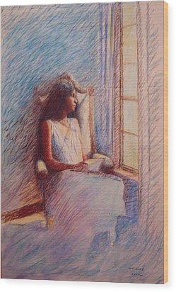 Woman Reading By Window Wood Print