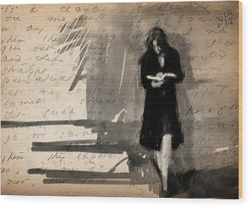 Woman Reading Wood Print by H James Hoff