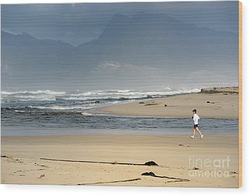 Woman Running In The Morning By Flamingo Lake Estuary Wood Print by Sami Sarkis
