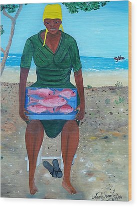 Wood Print featuring the painting Woman Selling Red Snapper by Nicole Jean-louis