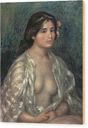 Woman Semi Nude Wood Print by Pierre Auguste Renoir